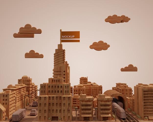 Modelo de edifícios 3d de cidades mock-up