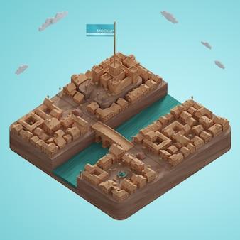 Modelo de edifícios de cidades 3d com maquete