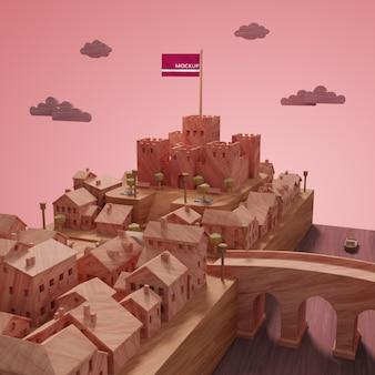 Modelo de edifícios de paisagem de cidades 3d