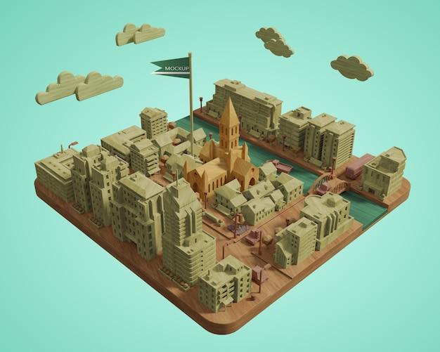 Modelo de edifícios do dia mundial das cidades