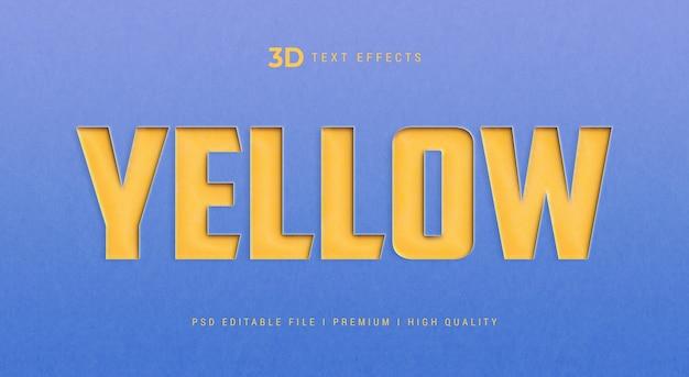 Modelo de efeito de estilo de texto 3d amarelo