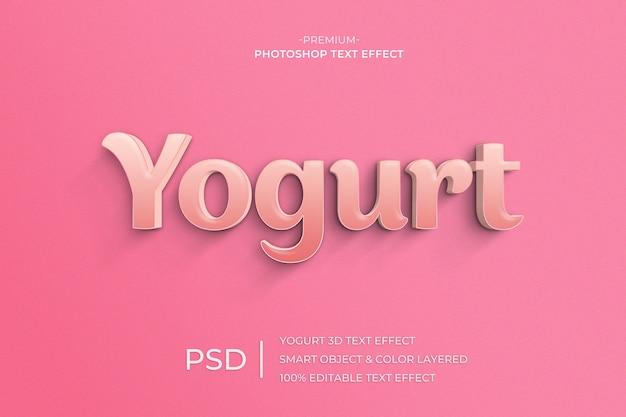 Modelo de efeito de estilo de texto 3d de iogurte