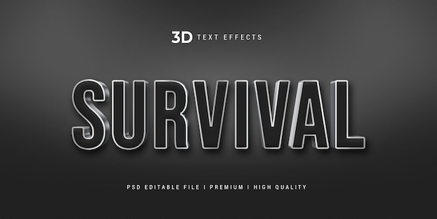 Modelo de efeito de estilo de texto 3d de sobrevivência