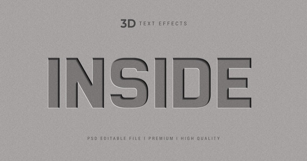 Modelo de efeito de estilo de texto 3d dentro