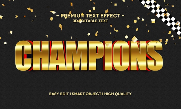 Modelo de efeito de estilo de texto 3d do champions