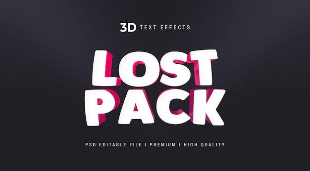 Modelo de efeito de estilo de texto 3d lost pack
