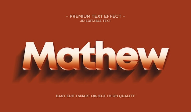 Modelo de efeito de estilo de texto 3d mathew
