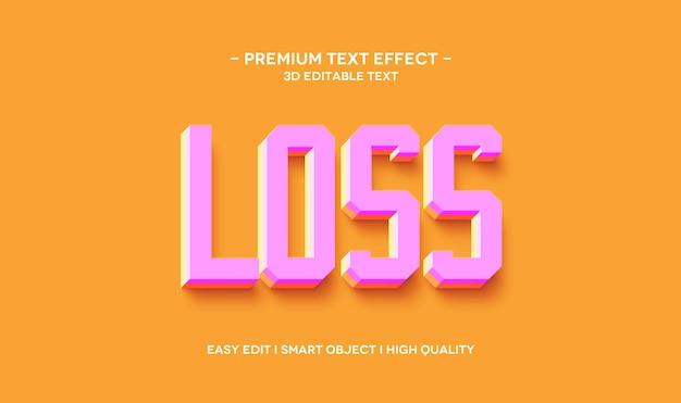 Modelo de efeito de estilo de texto 3d para perda