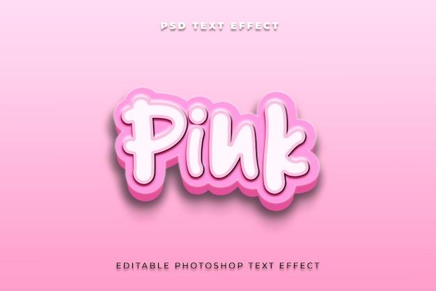 Modelo de efeito de estilo de texto 3d rosa