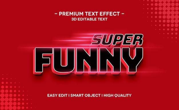 Modelo de efeito de estilo de texto 3d super engraçado com reflexo