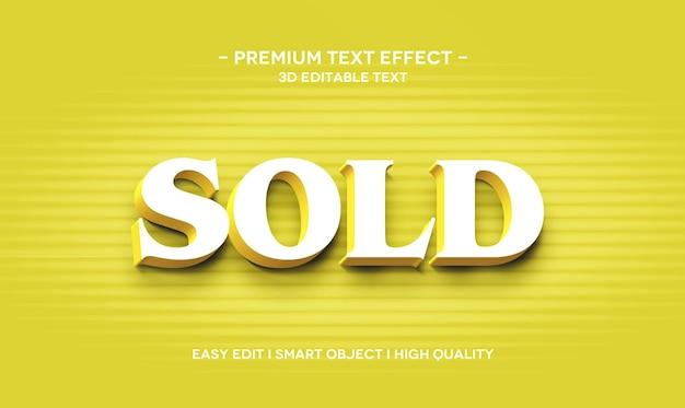 Modelo de efeito de estilo de texto 3d vendido