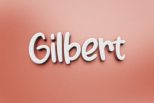 Modelo de efeito de estilo de texto branco 3d gilbert Psd Premium