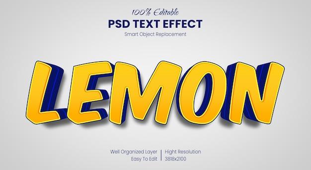 Modelo de efeito de estilo de texto de desenho animado com limão