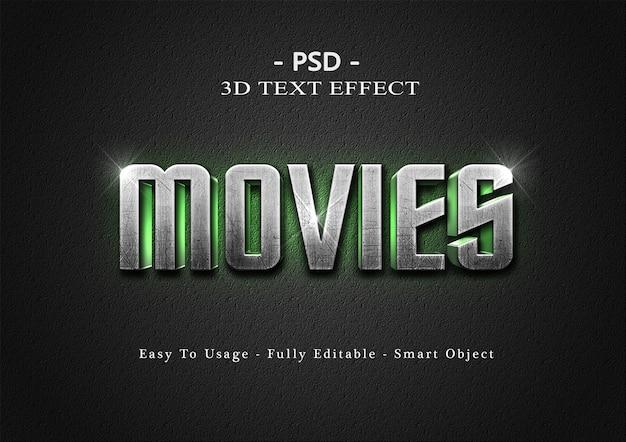 Modelo de efeito de estilo de texto de filmes 3d