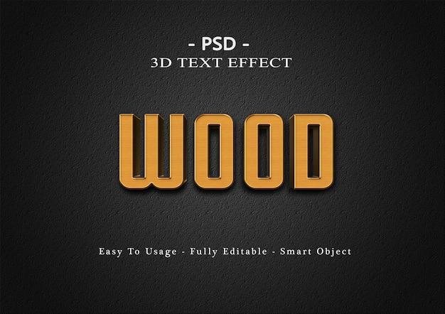 Modelo de efeito de estilo de texto de madeira 3d