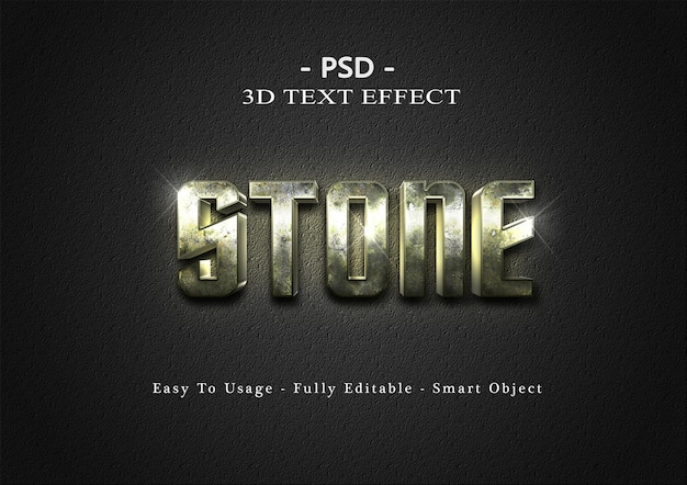 Modelo de efeito de estilo de texto de pedra 3d