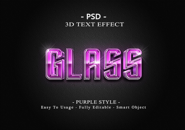 Modelo de efeito de estilo de texto de vidro 3d roxo
