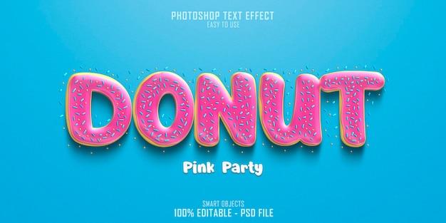 Modelo de efeito de estilo de texto donut pink party Psd Premium