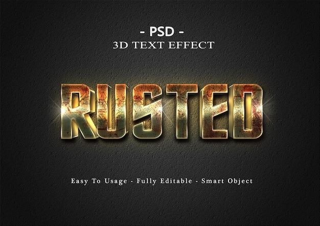 Modelo de efeito de estilo de texto enferrujado 3d