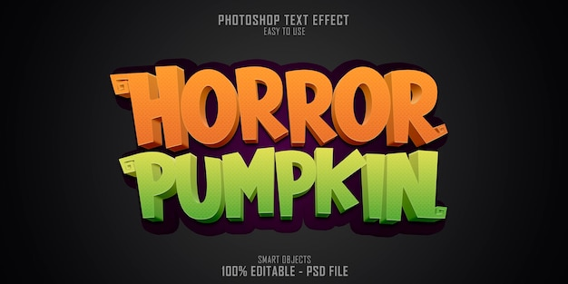 Modelo de efeito de estilo de texto horror pumpkin 3d