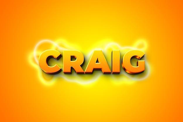 Modelo de efeito de estilo de texto laranja craig 3d