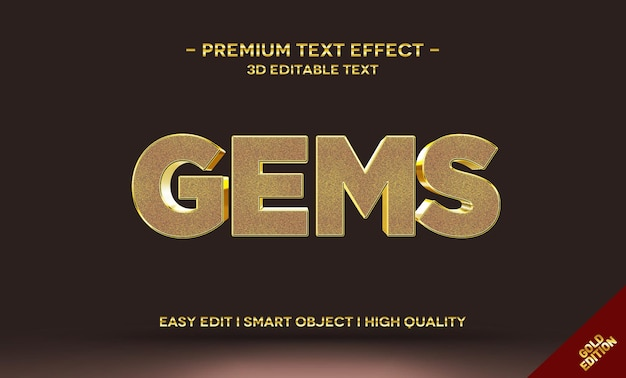 Modelo de efeito de estilo de texto ouro gems 3d