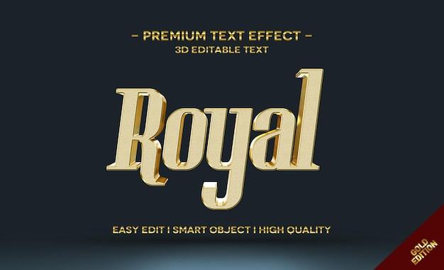 Modelo de efeito de estilo de texto royal 3d gold