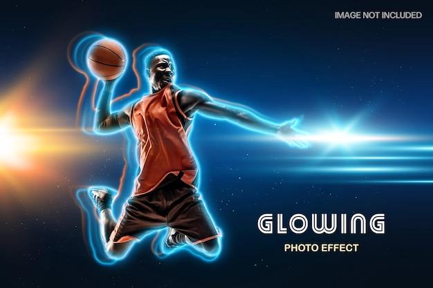Modelo de efeito de foto com contorno em néon brilhante