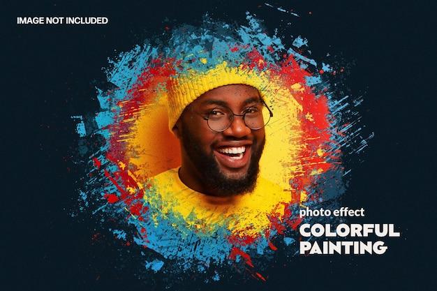Modelo de efeito de foto com respingos de tinta colorida
