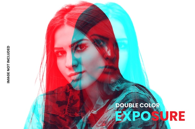 Modelo de efeito de foto de dupla exposição a cores