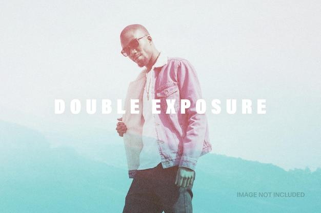 Modelo de efeito de foto de dupla exposição Psd Premium