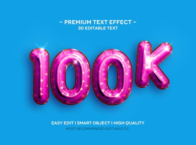 Modelo de efeito de texto 100k 3d