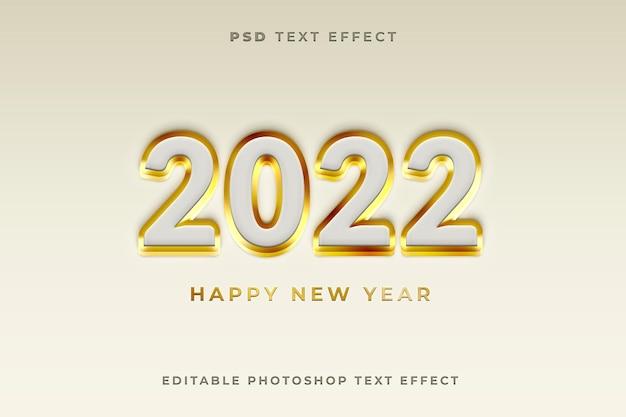 Modelo de efeito de texto 3d 2022 com cor dourada