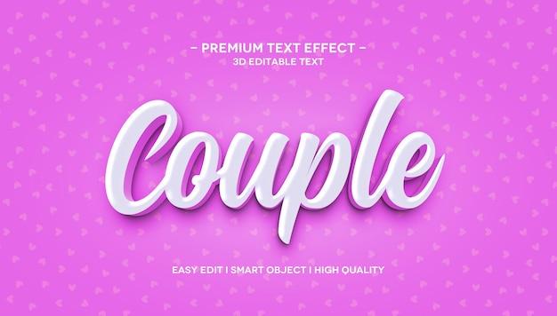 Modelo de efeito de texto 3d casal
