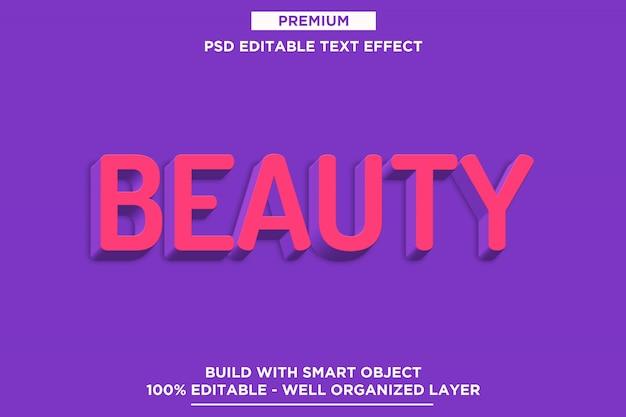 Modelo de efeito de texto 3d de beleza