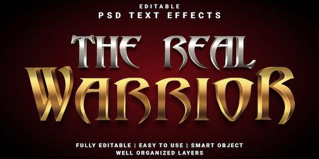 Modelo de efeito de texto 3d do verdadeiro estilo guerreiro