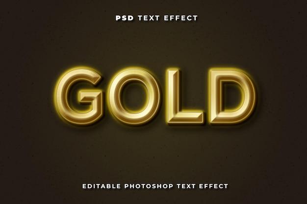 Modelo de efeito de texto 3d dourado com fundo escuro