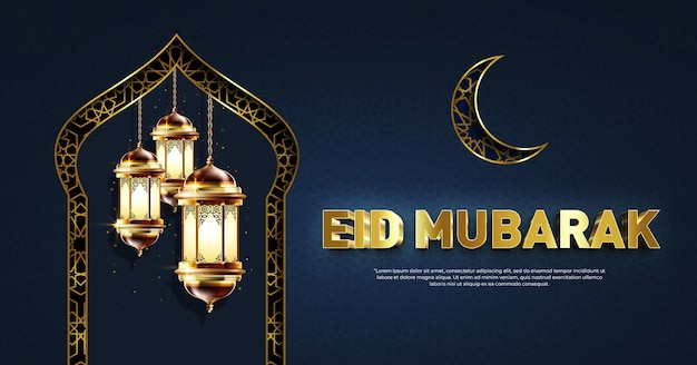 Modelo de efeito de texto 3d eid mubarak