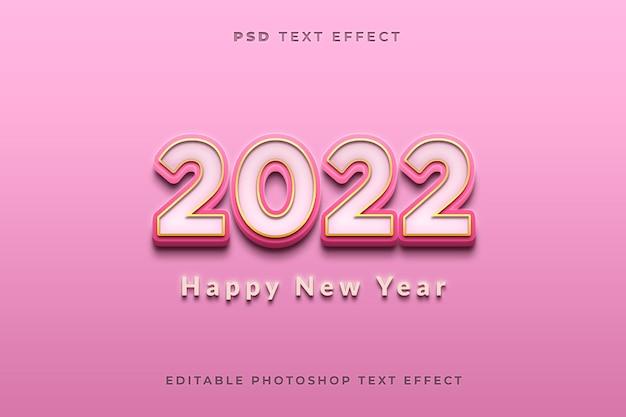 Modelo de efeito de texto 3d feliz ano novo 2022 com cor rosa e efeito dourado