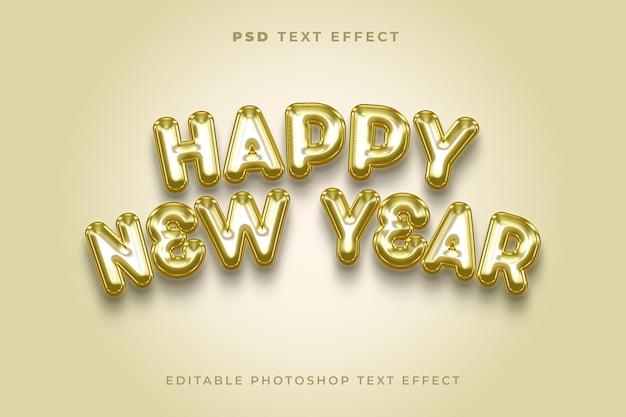 Modelo de efeito de texto 3d feliz ano novo com estilo balão dourado