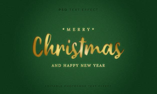 Modelo de efeito de texto 3d feliz natal com cor dourada e fundo verde