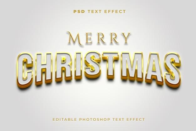 Modelo de efeito de texto 3d feliz natal com cor dourada
