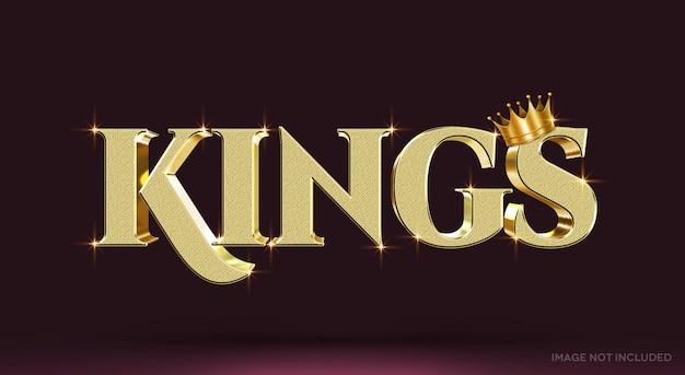 Modelo de efeito de texto 3d kings