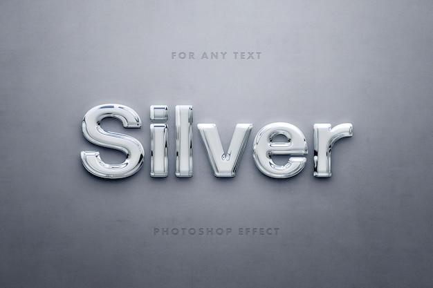 Modelo de efeito de texto 3d prata brilhante