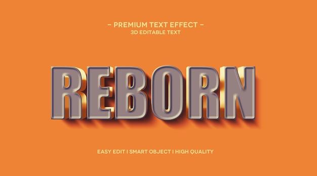 Modelo de efeito de texto 3d reborn