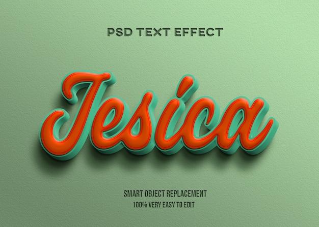 Modelo de efeito de texto 3d retro verde laranja