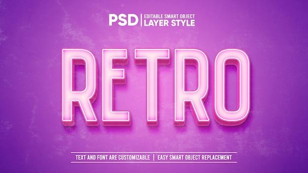 Modelo de efeito de texto 3d rosa vintage retro lavado antigo