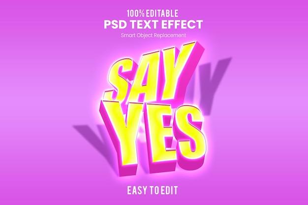 Modelo de efeito de texto 3d rosa Psd Premium