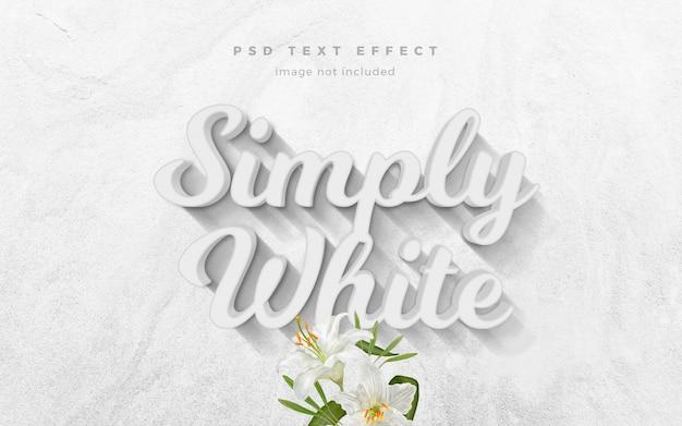 Modelo de efeito de texto 3d simplesmente branco