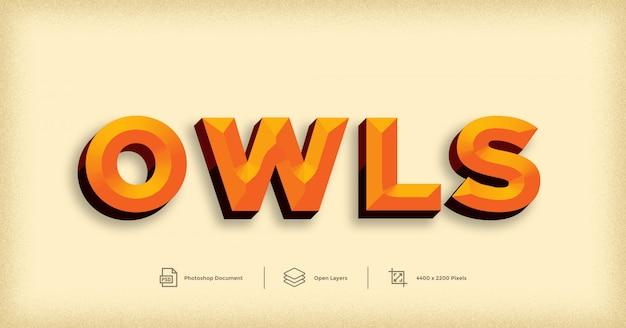 Modelo de efeito de texto amarelo 3d owls